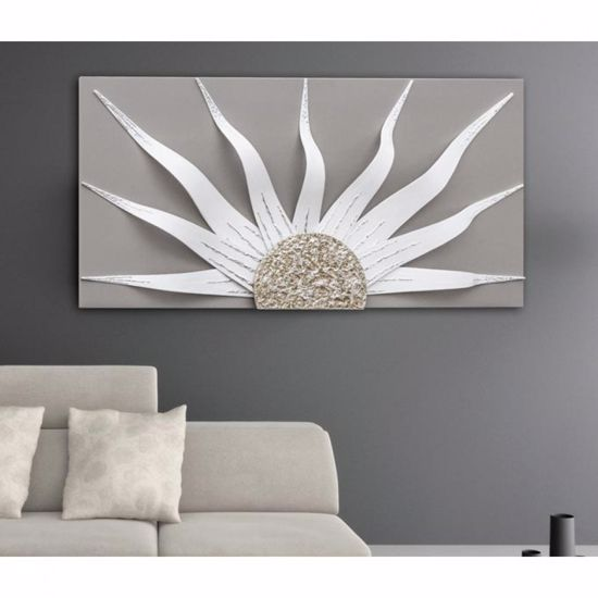 Picture of PINTDECOR SOLAR STORM WHITE MODERN WALL ART HAND-DECORATED DOVE GREY CANVAS WITH SILVER FOIL DETAILS
