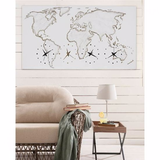 Picture of PINTDECOR WORLD WALL CLOCK 140X70 HAND-DECORATED PLANIPHERE ON CANVAS WITH GOLD FOIL DETAILS