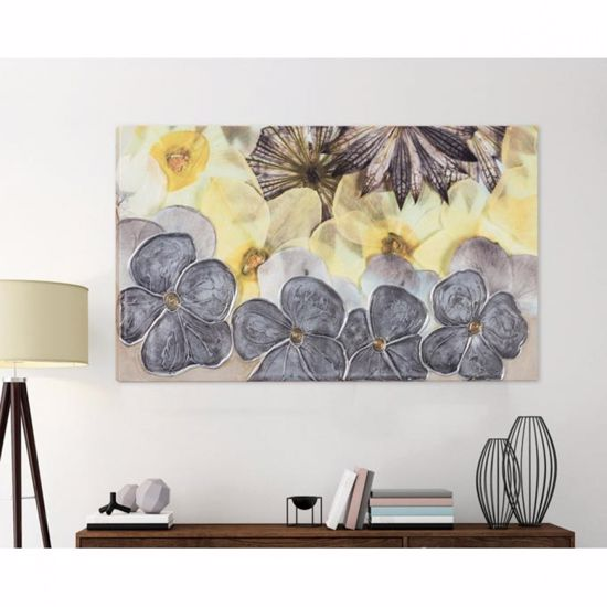 Picture of PINTDECOR FLORAL WALL ART HAND-DECORATED PETALS WITH SILVER FOIL