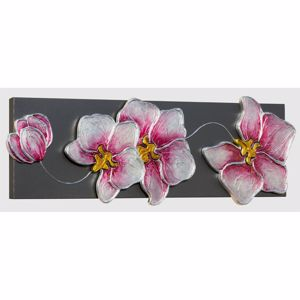 Picture of PINTDECOR ORCHIDEA ARGENTO WALL ART ORCHID FLOWERS ON ANTHRACITE CANVAS WITH SILVER FOIL DETAILS
