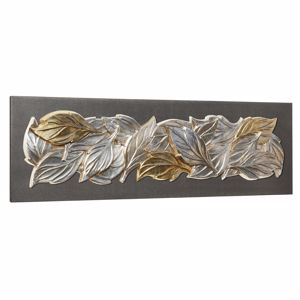 Picture of PINTDECOR FOGLIE D'INVERNO WALL ART SILVER FOIL LEAVES ON ANTHRACITE CANVAS