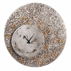 Picture of  PINTDECOR LARGE WALL CLOCK 70CM ECCENTRIC MATERIAL RELIEF SILVER / GOLD LEAF