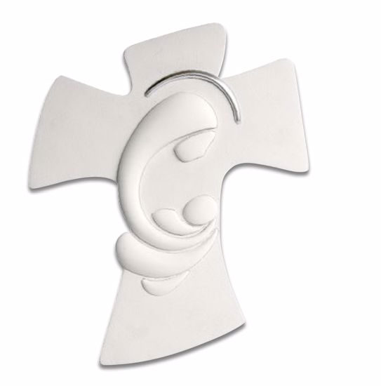 Picture of MEMORY WALL CRUCIFIX MOTHERHOOD 36X45 WHITE SILVER