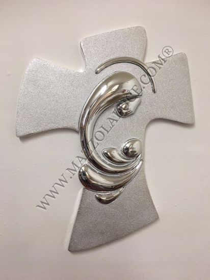 Picture of WALL SILVER CRUCIFIX 19X25 MOTHER WITH CHILD