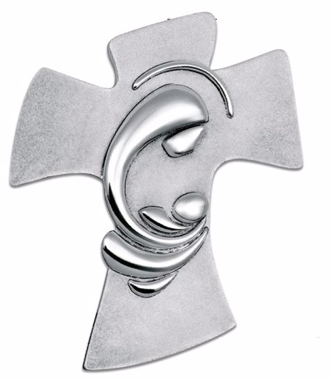 Picture of WALL SILVER CRUCIFIX 36X45 MOTHER WITH  CHILD
