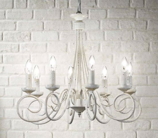 Picture of IDEAL LUX BRANDY SP5 CLASSIC PENDANT LAMP ANTIQUE WHITE