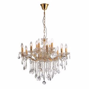Picture of IDEAL LUX FLORIAN CRYSTAL PENDANT LAMP SP12 12 ARMS GOLD