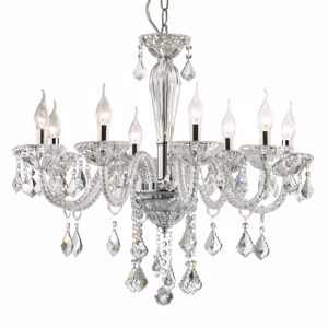 Picture of IDEAL LUX TIEPOLO SP8 PENDANT LAMP IN GLASS WITH PENDANTS
