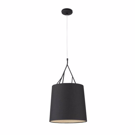Picture of TREE PENDANT LIGHT IN BLACK FABRIC LAMPSHADE MODERN DESIGN