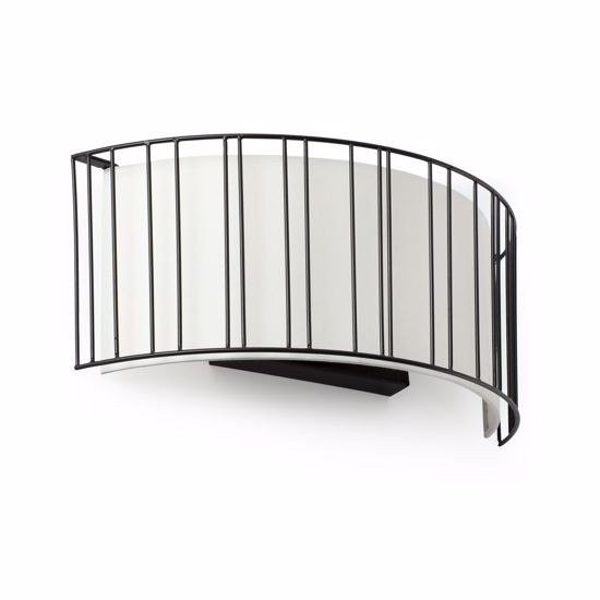 Picture of FARO LINDA WALL LAMP BLACK METAL WITH WHITE SHADE