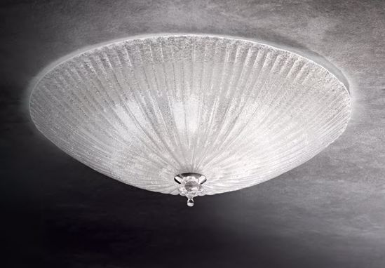 Picture of IDEAL LUX SHELL PL3 ROUND CEILING LAMP IN GLASS WITH GRANULES