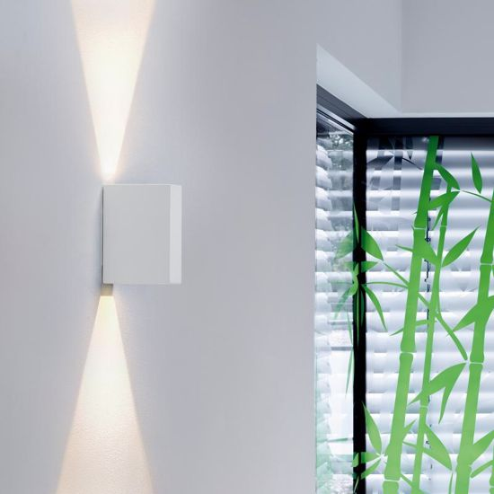 Picture of WHITE MODERN LED WALL LIGHT DOUBLE NARROW LIGHT BEAM IP44