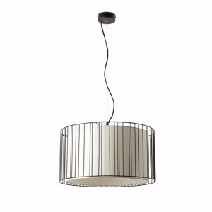 Picture of FARO LINDA SUSPENSION IN BLACK METAL AND SHADE IN WHITE FABRIC
