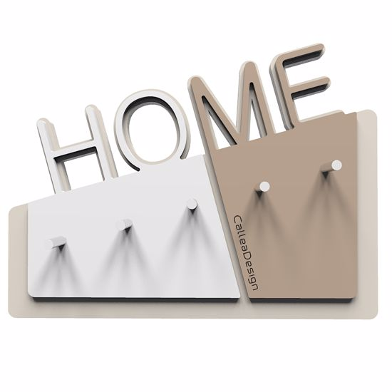 Picture of CALLEA DESIGN HOME WALL KEY HOLDER IN CAFFELATTE COLOUR MODERN DESIGN