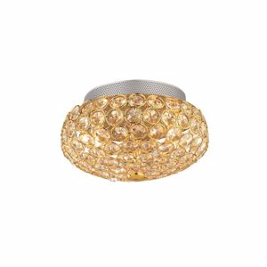Picture of IDEAL LUX KING CEILING LAMP WITH CRYSTALS PL3 3LIGHTS GOLD