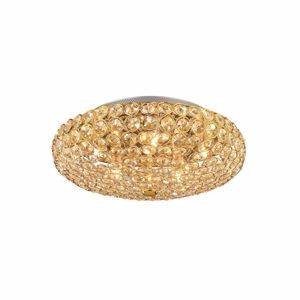 Picture of IDEAL LUX KING CEILING LAMP WITH CRYSTALS PL5 5LIGHTS GOLD