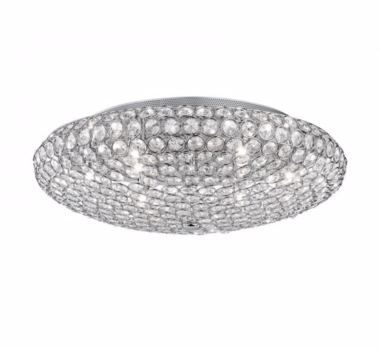 Picture of IDEAL LUX KING CEILING LAMP WITH CRYSTALS PL9 9LIGHTS CHROME