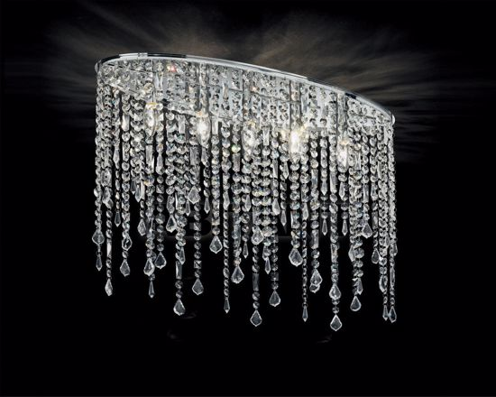 Picture of IDEAL LUX RAIN CEILING LAMP WITH CRYSTALS PL5 5 LIGHTS