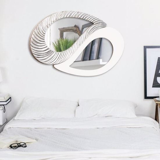 Picture of PINTDECOR TAO WALL MIRROR CONTEMPORARY DESIGN HAND-DECORATED WITH SILVER FOIL DETAILS AND IVORY LACQUERED FRAME