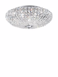 Picture of IDEAL LUX CONTEMPORARY CHROME CEILING LAMP WITH CRYSTAL