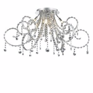 Picture of IDEAL LUX FIORE CEILING LAMP PL10 WITH CRYSTALS