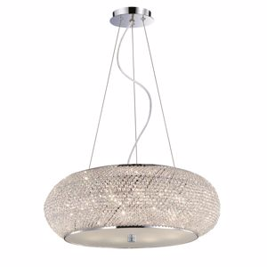 Picture of IDEAL LUX PASHA PENDANT LAMP CRYSTALS 55CM 10 LIGHTS CHROME