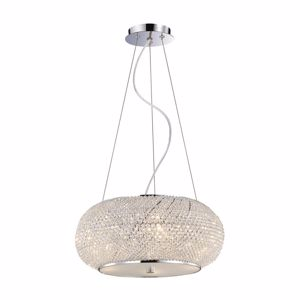 Picture of IDEAL LUX PASHA PENDANT LAMP CRYSTALS 45CM 6 LIGHTS CHROME