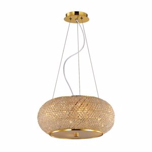 Picture of IDEAL LUX PASHA PENDANT LAMP CRYSTALS 45CM 6 LIGHTS GOLD