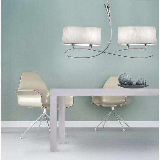 Picture of MANTRA LUA SN PENDANT LIGHT NICKEL SATIN FINISH 4 LIGHTS WITH 2 WHITE FABRIC LAMPSHADES