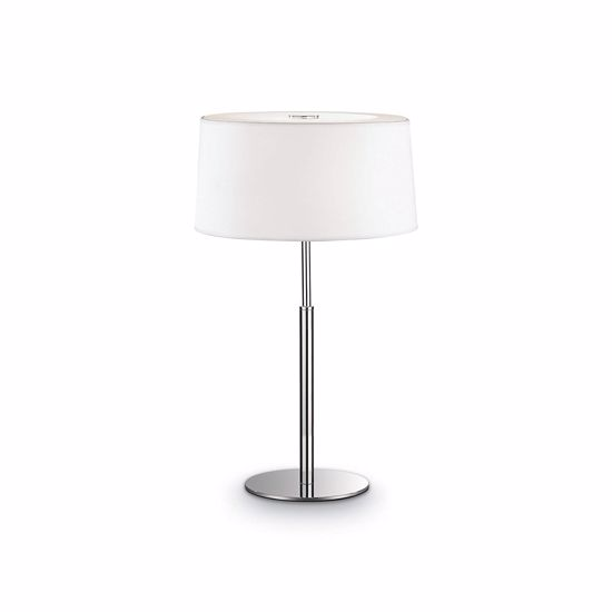 Picture of MODERN TABLE LAMP H49 WHITE PVC AND FABRIC SHADE CHROME METAL BASE