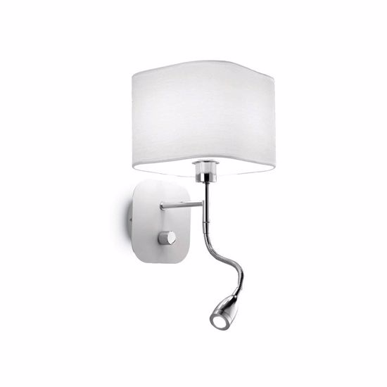 Picture of WHITE ADJUSTABLE WALL LIGHT ABOVE BEDSIDE TABLE DOUBLE LED IDEAL L6UX AP2