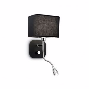 Picture of BLACK ADJUSTABLE WALL LIGHT BEDSIDE TABLE DOUBLE LED