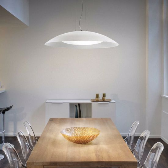 Picture of IDEAL LUX LENA MODERN GLASS PENDANT LAMP SP3 D74 WHITE