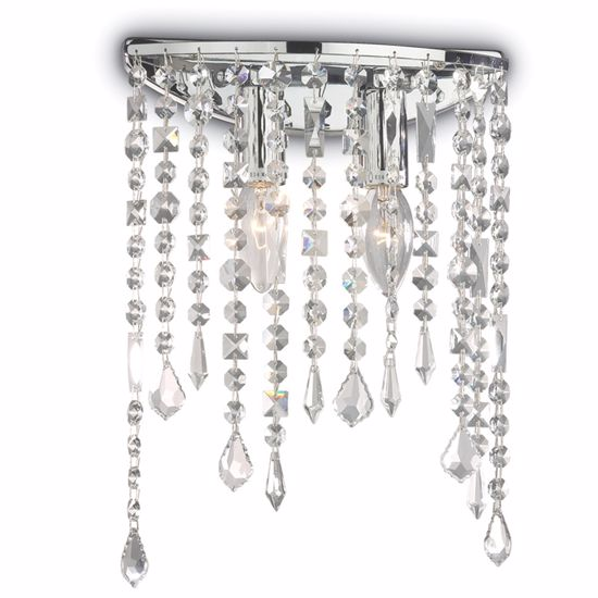 Picture of IDEAL LUX RAIN WALL LAMP WITH CRYSTALS AP2 2LIGHTS