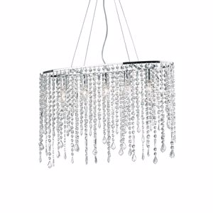 Picture of IDEAL LUX RAIN PENDANT LAMP WITH CRYSTALS SP5 5 LIGHTS