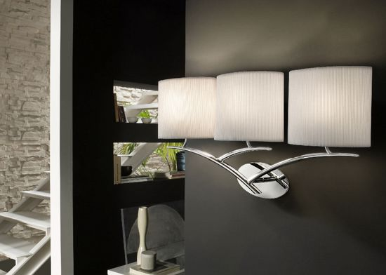 Picture of ELEGANT WALL LIGHT 3 FABRIC LAMPSHADES MANTRA EVE CHROME - OFF WHITE