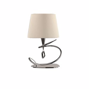Picture of MANTRA MARA CHROME - OFF WHITE TABLE LAMP WITH LAMPSHADE IN WHITE FABRIC MODERN DESIGN