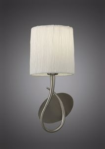 Picture of MANTRA LUA SN 1-LIGHT WALL LAMP NICKEL SATIN FINISH WITH WHITE FABRIC LAMPSHADE