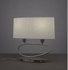 Picture of MANTRA LUA SN TABLE LAMP SATIN NICKEL WITH OVAL WHITE LAMPSHADE