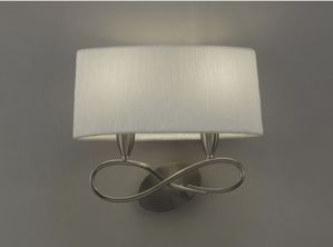 Picture of MANTRA LUA SN WALL LAMP NICKEL SATIN FINISH WITH LAMPSHADE IN WHITE FABRIC