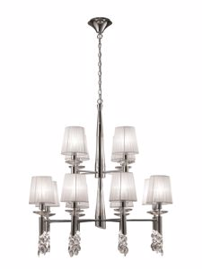 Picture of MANTRA TIFFANY CHROME BIG SUSPENSION LIGHT 12 ORGANZA LAMPSHADES