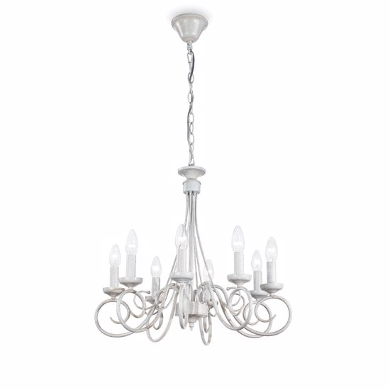 Picture of IDEAL LUX BRANDY SP8 CLASSIC PENDANT LAMP ANTIQUE WHITE
