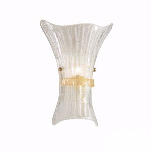 Picture of IDEAL LUX FIOCCO AP1 BIG WALL LAMP IN GLASS WITH AMBER DECORATION