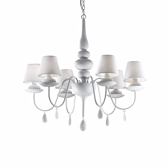 Picture of IDEAL LUX BLANCHE PENDANT LAMP WHITE SP6 6 ARMS