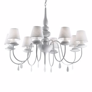Picture of IDEAL LUX BLANCHE PENDANT LAMP WHITE SP8 8 ARMS