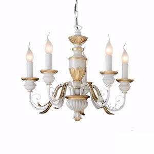 Picture of IDEAL LUX FIRENZE SP5 PENDANT LAMP ANTIQUE WHITE AND GOLD LEAF