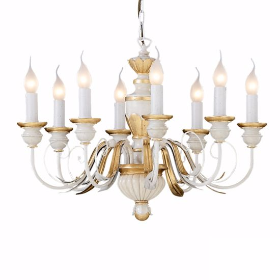 Picture of IDEAL LUX FIRENZE SP8 PENDANT LAMP ANTIQUE WHITE AND GOLD LEAF