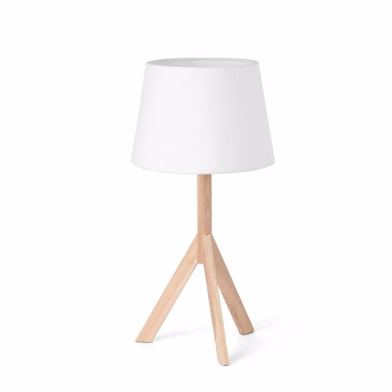 Picture of FARO HAT TABLE LAMP IN WOOD WITH WHITE SHADE