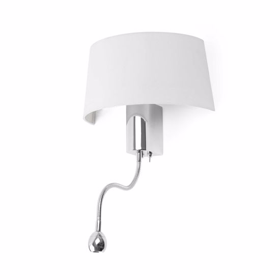 Picture of LED WALL LIGHT CHROME AND WHITE LAMPSHADE