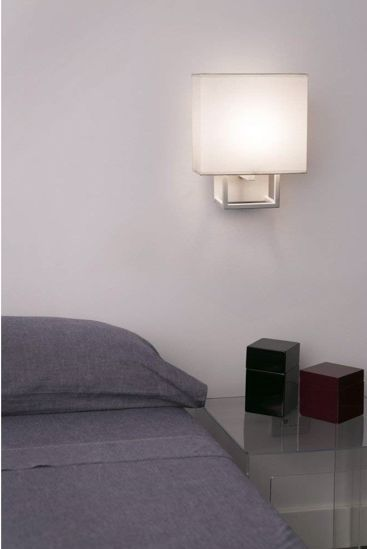 Picture of FARO VESPER WHITE WALL LAMP WITH BEIGE SHADE